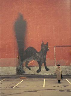 Black Cat Fire Extinguisher – view more (shadowy) images @ http://www.juxtapoz.com/Street-Art/black-cat-fire-extinguisher# – #streetart #cat #0331c
