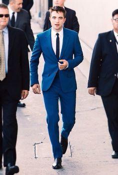 Robert Pattinson Alexander McQueen blue suit - 'The Rover' Los Angeles Premiere 12 June 2014