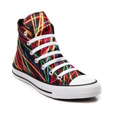 Shop for Converse Chuck Taylor All Star Hi Lights Sneaker, Black Multi, at Journeys Shoes. Converse coolness coming to you at the speed of light! Lace up your new All Star Hi Streaming Lights Chucks from Converse, featuring soft satin uppers with light trail photography graphics, lace up closure, and rubber cap toe.