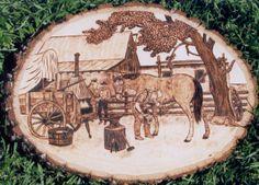 Horse shoeing wood burning art