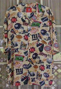NFL New York Giants Football Mens XL Rayon Novelty Print Camp Shirt. Holly  Neureuter · Hawaiian Shirts · Island Aloha Wear Mens L ... daf95a277