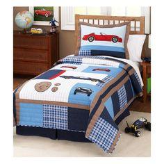 Cars Boy's Bedding Quilt Set with Pillow Sham Teen Boy Bedding, Sports Bedding, Baby Crib Bedding Sets, Kids Bedroom, Bedroom Decor, Bedroom Ideas, Patchwork Quilt, Twin Quilt, Granny Square Blanket