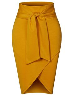 Asymmetrical High Waisted Self Tie Casual Formal Pencil Midi Skirt