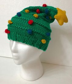ca2de4f9b3f Womens CHRISTMAS TREE SLOUCH-FIT BEANIE Crochet-Knit Ugly Sweater Winter Hat  NEW  Collectioneighteen  Beanie  Christmas