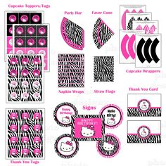 Hello Kitty Zebra Print Birthday Invitation and Party Package