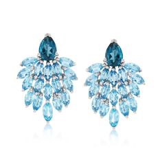 Blue Chalcedony and ct. Swiss Blue Topaz Drop Earrings in Sterling Silver Blue Topaz Ring, Topaz Gemstone, Gemstone Jewelry, Blue Chalcedony, Topaz Earrings, Blue Earrings, Drop Earrings, Front Back Earrings, Crystal Bracelets