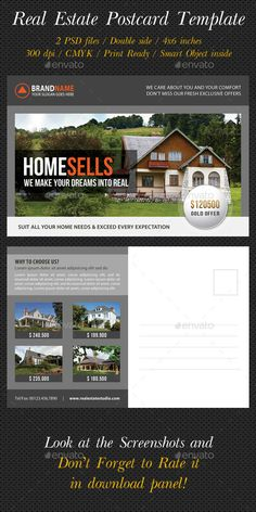 Real Estate Postcard Template V01 - Cards & Invites Print Templates