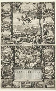 Daniel de Lafeuille | Overwinningen van koning Willem III in Ierland (bovenste helft), 1690, Daniel de Lafeuille, 1690 - 1691 | Grote prent op twee bladen waarin de overwinningen van koning Willem III in Ierland en de overwinningen van de geallieerden op Frankrijk in het jaar 1690 gevierd worden. Bovenste helft met centraal de slag aan de Boyne op 11 juli 1690. Met Faam in de lucht en vooraan de Engelse eenhoorn en de Hollandse leeuw. Aan weerszijden zes kleinere scènes  van de strijd tussen…