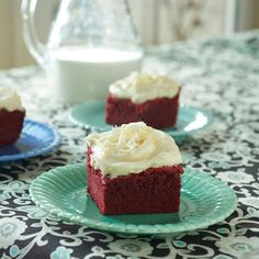 Our red velvet brownies are a bite-size version of the classic red velvet cake. Top them with cream cheese frosting for the ultimate holiday dessert.