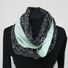 Snood echarpe tube jersey motifs & soie vert d'eau  - offre spéciale ce week-end : 1 pochon lin offert pour