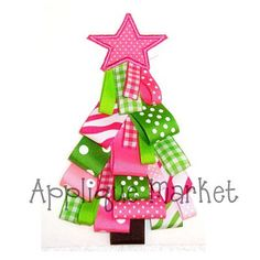 Machine Embroidery Design Applique Ribbon Christmas Tree INSTANT DOWNLOAD via Etsy