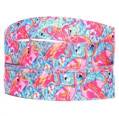 """Amazon.com: Custom & Fancy {.9"""" Inch Width - 3 YDS} 1 Pack of Wide """"Grosgrain"""" Ribbon for Hairbows, Decorations & Gift Wrap Made of Polyester & Nylon W/ Pink Flamingo Pattern [Pink, & Blue Color]"""