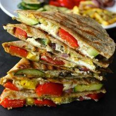 Grilled Vegetable Quesadillas HealthyAperture.com