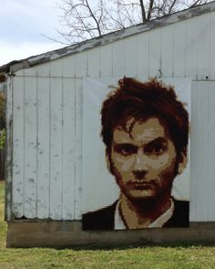 Holy moly, it's a pixellated quilt of David Tennant