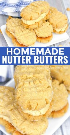 Soft peanut butter cookies filled with luscious peanut butter cream — these Homemade Nutter Butter cookies are even better than the original! Peanut Butter Sandwich Cookies, Nutter Butter Cookies, Peanut Butter Recipes, Yummy Cookies, Yummy Treats, Cookies Soft, Homemade Peanut Butter Cookies, Filled Cookies, Cookie Butter