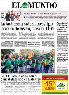 Portada de El Mundo (España): El PSOE en la calle con el pancatalanismo en Baleares