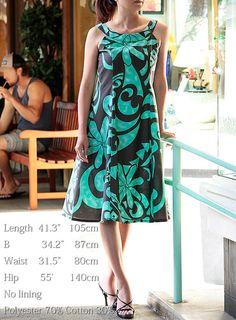 Hawaiian Fabric , Old hawaiian print, Aqua tiare, flare Dress , HNLS02444