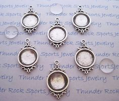 6 Antique Silver Plated Pewter Pendant Blank Bezel Trays with Separate 14mm Clear Glass Round Cabochons