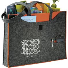 Owl® 100% Recycled Felt Business Promotional Tote - 51 billion plastic bottles end up in landfills every year. Made from 100% recycled material, this tote was created using yesterday's discarded bottles. Color pops help point out organization for your accessories and add fun details like pen pockets, phone pockets and front pockets. Velcro tab closure. Unique Owl® branding with recycled bottle stats are stamped into the interiors of each bag.