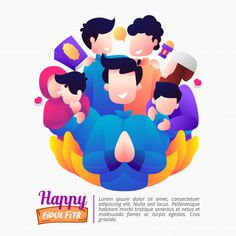 Illustration Of Eid Al-fitr Holiday With A Happy Family Flat Design Illustration, Family Illustration, Poster Ramadhan, Eagle Drawing, Family Poster, Islamic Cartoon, Anime Muslim, Eid Al Fitr, Batman The Animated Series