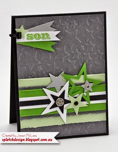 PIN ME--this one goes to the blog post with this card, not the whole blog. Splotch Design - Jacquii McLeay Independent Stampin' Up! Demonstrator: Masculine Star Card