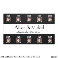Bride and Groom Mason Jars Choose Your Color Banner