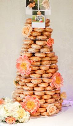 Donut tower wedding cake from Krispy Kreme - topped with photos of the bride and groom Donut Wedding Cake, Wedding Donuts, Wedding Desserts, Sweet Table Wedding, Unique Wedding Cakes, Wedding With Kids, Alternative Wedding Cakes, Wedding Cake Alternatives, Donut Tower