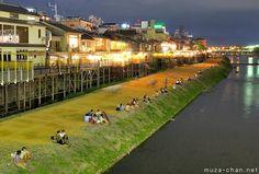 Traditional restaurants, Kamo river, Kyoto | Romantic night in Kyoto