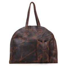 Vintage Leather Handmade Jet Set Travel Ziptop Tote Bag - 2