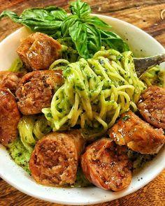 Creamy Collard Green Pesto with Sausage| Recipe up at DariusCooks.com.