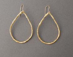 Small Gold Teardrop Hoop Earrings also in Silver