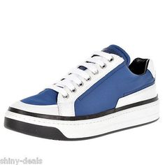 PRADA New Woman Nylon Blue White Lace Up Trainers Sneakers Shoes Sz 35 it $477