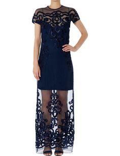 Lapis Chantilly Lace Column Gown