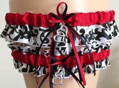 Red Damask Wedding Garter Set, Bridal Garter Set