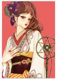 Sixth petal tributary red illustration card collection 2016 - Japanese Illustration, Manga Illustration, Watercolor Illustration, Illustrations, Anime Art Girl, Manga Art, Anime Girls, Geisha Art, Poses References