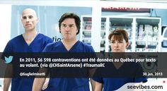 30 Janvier 2013: Petite campagne de sensibilisation sur l'utilisation des cellulaires au volant, et le message est bien passé hier soir au Québec pendant la diffusion de Trauma - #Seevibes #TopRetweet #Twitter #Trauma - https://twitter.com/Guglielminetti/status/296805156668968961