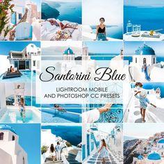 Bring the summer vacation feeling back with Santorini Blue Lightroom Presets. Photoshop Presets, Photoshop Filters, Photoshop Actions, Vsco Presets, Vsco Gratis, Lush, Greece Vacation, Greece Trip, Blue Tones