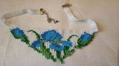 iris flowers beadwork necklace fringe necklace by fairyseedbeads