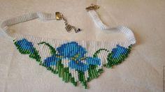 iris flowers beadwork necklace fringe necklace by fairyseedbeads