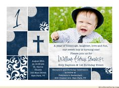 Baptism Birthday Invitation Blue Cream Double Holy Photos