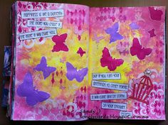 Art Journal, butterflies quote.. Dylusions, Typo and Balzar design stencils.