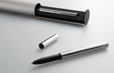 TRYSTRAMS – Primine ball pen THA-PR02. Minimalist design in mirror-finish stainless steel with black coated brass section. Fitted with a PILOT BRFN-30F refill. Presented in a pendulum  weighted aluminium gift case. Designed by Michio Akita, circa 2010.
