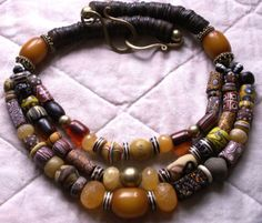 Vintage Venetian Trade Beads African Amber necklace - Tribal Ethnic Style $395.