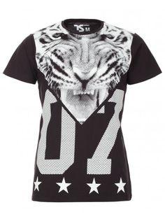 Twisted Soul Mens Black Tiger Head Print T-Shirt