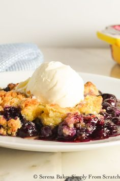 Warm Blueberry Cobblers is easy to make from scratch and perfect for summertime picnics, barbecues, and potlucks!