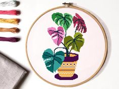 Floral Cross Stitch Pattern, flower in a pot cross stitch chart, hoop embroidery, nature cross stit Cross Stitch Quotes, Cross Stitch Letters, Cross Stitch Art, Simple Cross Stitch, Cross Stitch Flowers, Cross Stitching, Cross Stitch Embroidery, Cross Stitch Beginner, Easy Cross Stitch Patterns