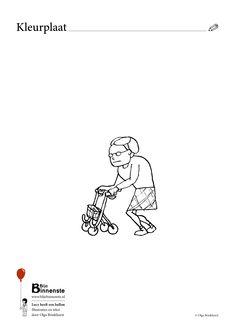 kleurplaat Lucy uit het kinderboek Lucy heeft een ballon. Oma met rollator - grandma with wheels Childrensbook illustration. Illustratie zwart-wit Kleurplaten black and white illustration from Lucy has got a balloon from Blije Binnenste childrensbook publisher - Blije Binnenste kinderboeken