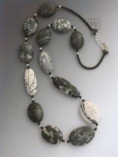 https://flic.kr/p/6jhX2b | Greystone | faux polymerclay pebbles, sterling silver, glassbeads, custom order