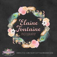 Logo Design Custom PREMAID Business Branding Card Design Photography Event Planner Watermark Boho Chic Watercolor Floral Flowers Typography by CottageMoonDesign on Etsy