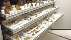 Specialized drawers storing small artifact collections
